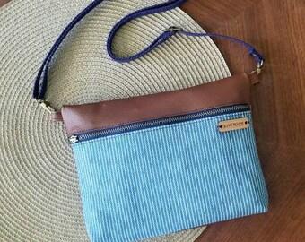 Crossbody bag, genuine leather handbag, jean purse, shoulder bag, ikat, southwest, women's, canvas and leathe, denim bag, made in the usa