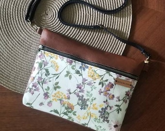 small leather crossbody, ivory floral purse, handbag, wildflowers, shoulder bag, small women's purse , fannypack,