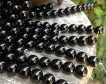 Authentic ONYX - 10mm Perfectly Round, Consistent Jet Black Color, and an Absolutely Stunning Shine! GREAT Quality, Natural Onyx!