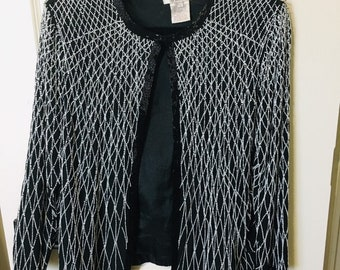 7ead252e038 Adrianna Papell Sequined Evening Jacket Silk Beaded size Large