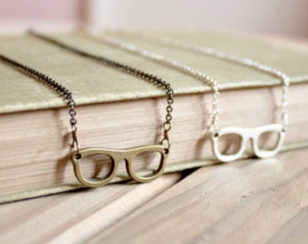 Small eyeglass charm necklace, silver tone or bronze, Four Eyes Are Better Than None