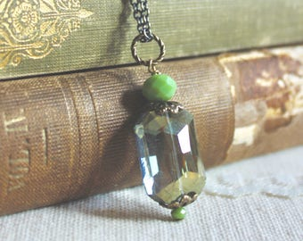 Simple emerald cut olive green glass bead necklace, Heiress