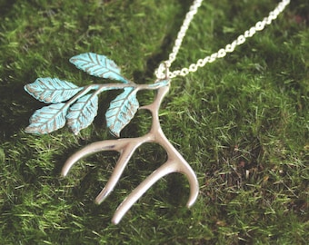 Antiqued silver antler & patina blue leaf pendant necklace, woodland jewelry, hunter jewelry, stag / deer / antler necklace, One In The Bush