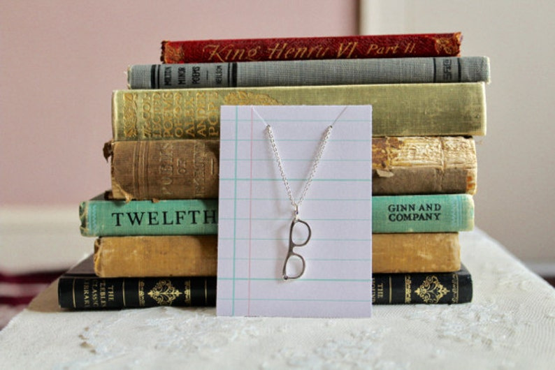 Small eyeglass charm necklace silver tone or bronze Eye See You Now