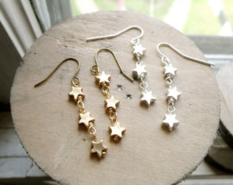 Dangling trio of stars earrings, star jewelry, celestial jewelry, galaxy jewelry, silver or gold tone options, Orion's Belt