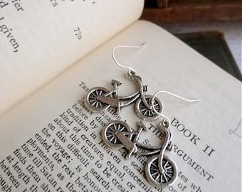 Two sided bicycle earrings, silver tone, bike jewelry, bike earrings, Student Transport