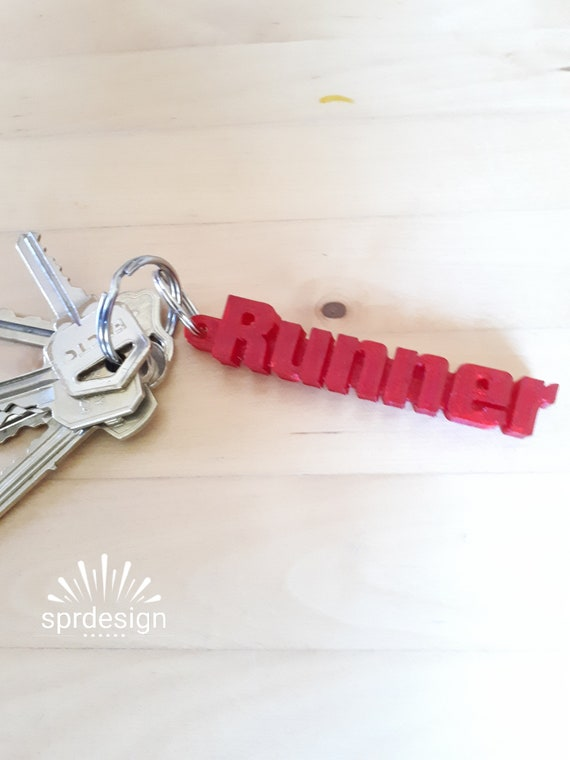 3d printed keychain runner text great gift ideas etsy