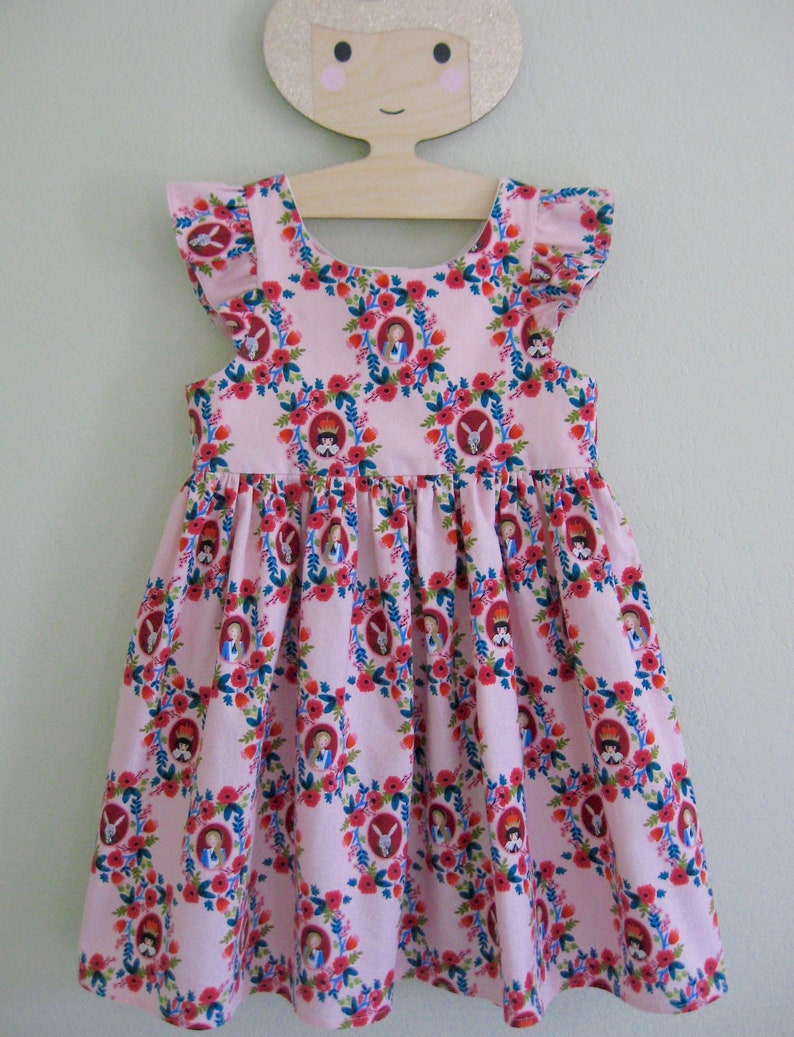 f5079c39b0a OOAK Girls Pinafore Dress Sundress in Alice in Wonderland Pink