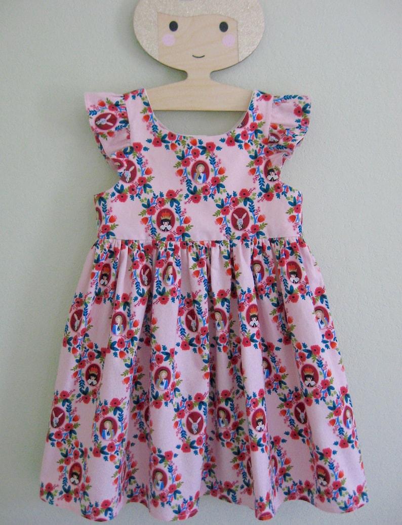 f5079c39b0a OOAK Girls Pinafore Dress Sundress in Alice in Wonderland Pink