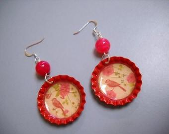 Vintage Style Cherry Soda Bottle Cap Earrings