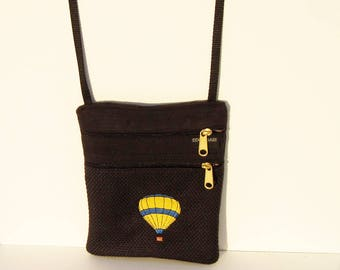 Yellow and Blue Hot Air Balloon Cross Body Flat Purse on Black