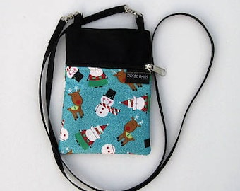 1cb0101bae6 Snowman, santa and reindeer Cell Phone Purse or Water Bottle Purse