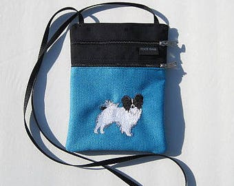 Black and White Papillon Dog Cross Body Flat Purse on Blue