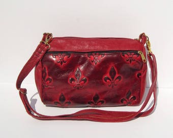 Red Fleur De Lis Embossed Genuine Leather Barrel Purse