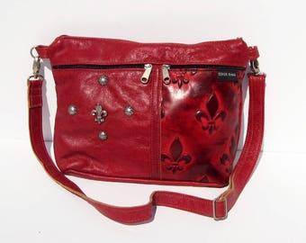 Red Fleur De Lis Embossed Genuine Leather Medium Purse