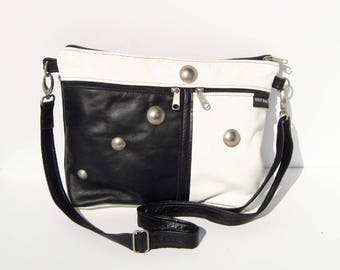 Black and White Genuine Leather Medium Purse
