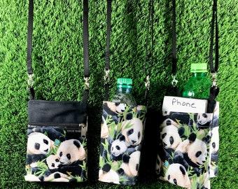 Giant Panda Phone Purse, Panda Water Bottle Holder, 2 Piece Set, Panda Coin Purse, Panda Crossbody Purse, PandaWater Bottle, Panda