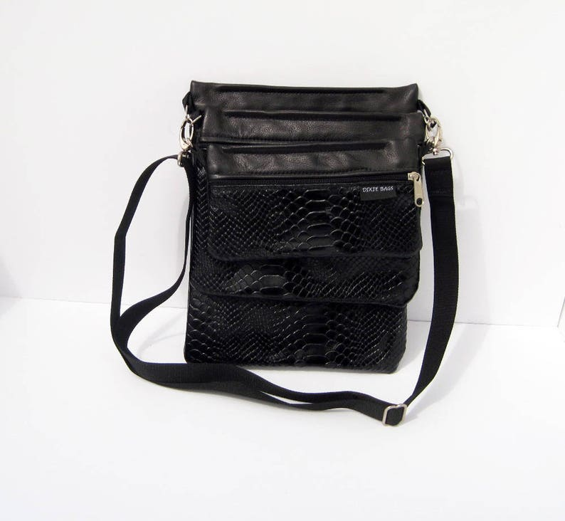 Organizer Purse 3 Piece Bag Cowhide Leather Convert-A-Bag Sectional Bag Black Snake Embossed