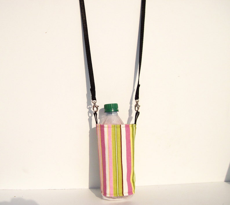 Pink Striped  Bottle Holder Water Bottle Purse with image 0