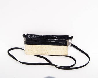 Cream Colored Alligator Embossed Leather Mini Purse, Clutch, Wristlet, Wallet