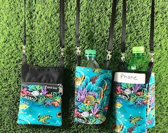 Tropical Fish Phone Purse, Tropical Fish Water Bottle Holder, Tropical Fish Coin Purse, Fish Crossbody Purse, Tropical Fish Water Bottle