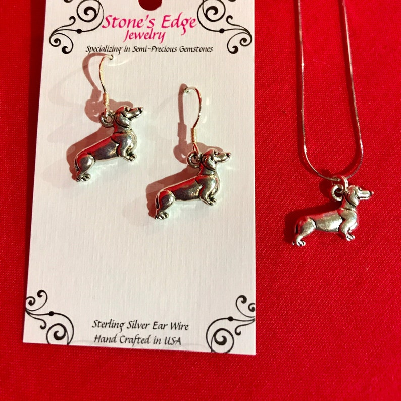 Dachshund Dog Necklace or Earrings image 0