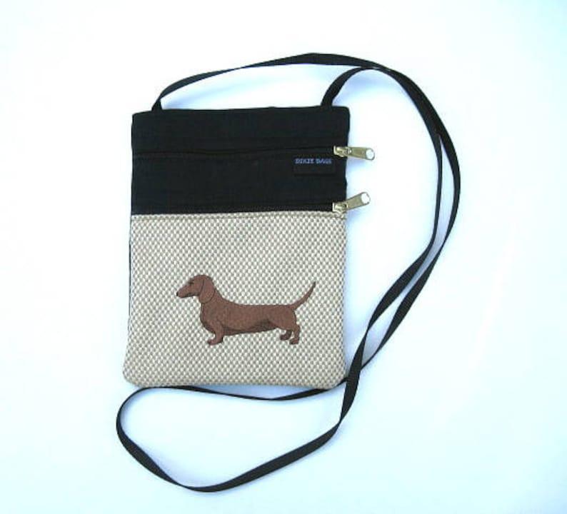 Red Brown Dachshund Dog Cross Body Flat Purse  on Tan body image 0