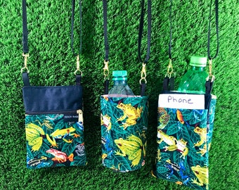 Tree Frog Phone Purse, Frog Water Bottle Holder, 2 Piece Set, Frog Coin Purse, Frog Crossbody Purse, Frog Water Bottle, Frog, Tree Frog