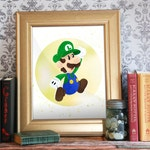 Luigi, Mario Bros Print, Super Mario, Marios Bros Printable, Nintendo Art, Super Mario Bros, Printable Decor, Video Game Art: Luigi!