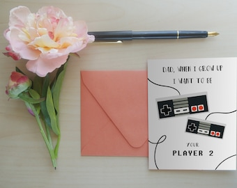 fathers day card gamer dad gifts for dad greeting card for dad fathers day greeting card player 2