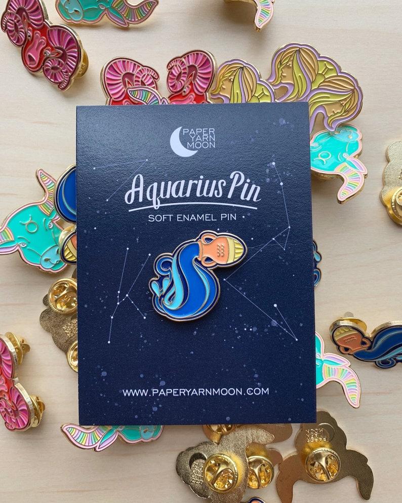 Aquarius Pin Enamel Pin  Lapel Pin Zodiac Sign Pin Water image 0