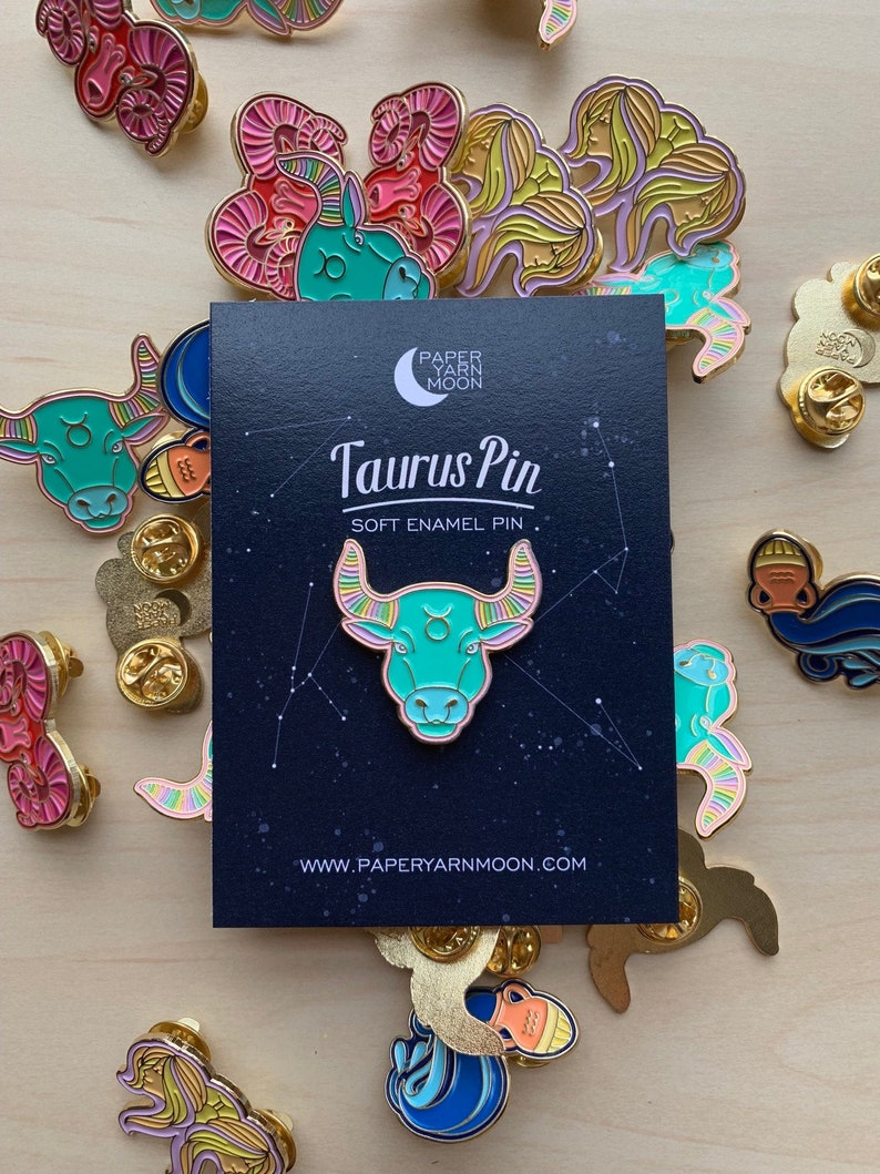 Taurus Pin Enamel Pin  Lapel Pin Zodiac Sign Pin Bull image 0