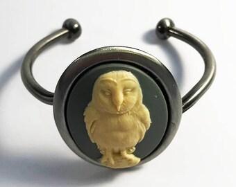Owl Cameo Cuff Bracelet