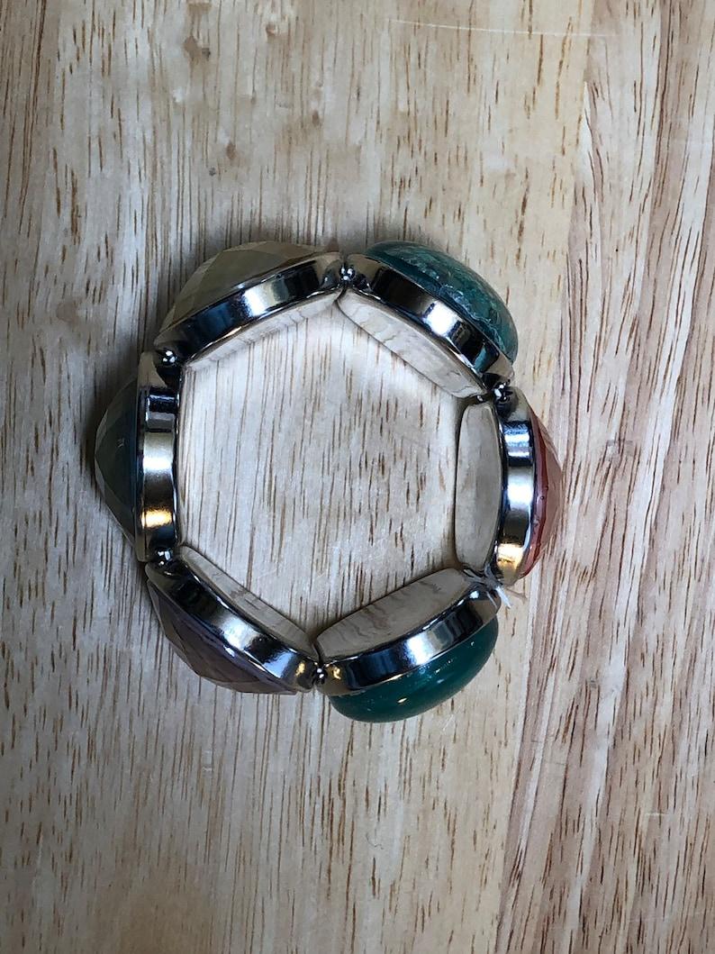 Faceted fake opal bracelet opal bracelet  opal acrylic bracelet  pink blue purple white stretch bracelet  opal Cabochons