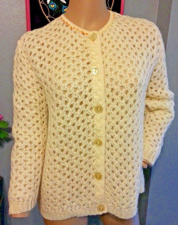 Vintage 50's Sidney Gould Creme 50% Mohair Knit Ca