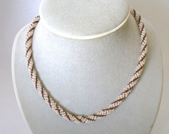 Creamy beige and bronze seed bead necklace bead jewelry woven necklace