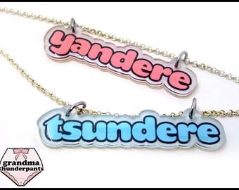 Tsundere or Yandere Necklace, Anime, Manga, Pastel, Gifts Under 10