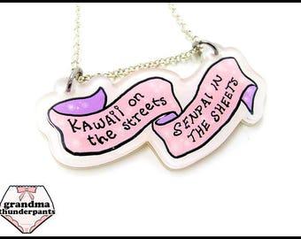 Kawaii on the Streets, Senpai in the Sheets Necklace, Kawaii, Senpai Jewelry, Pink, Pastel Senpai