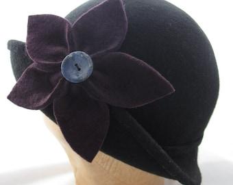 Black and Plum Wool Felt Flower Cloche