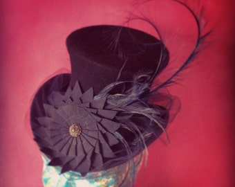 Steampunk or Burlesque Mini Top Hat in Black and Navy. Mad Hatter Tea party.