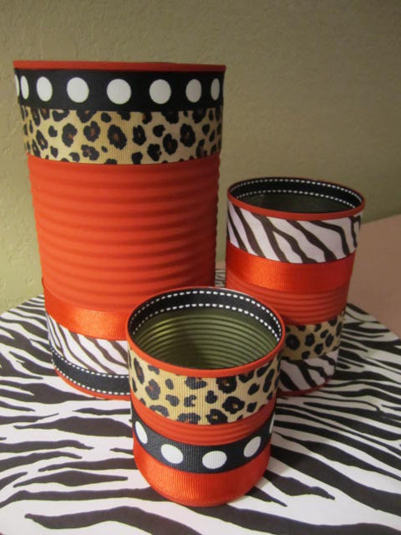 ANIMAL PRINT CANS Leopard Print Zebra Print Recycled Cans image 0