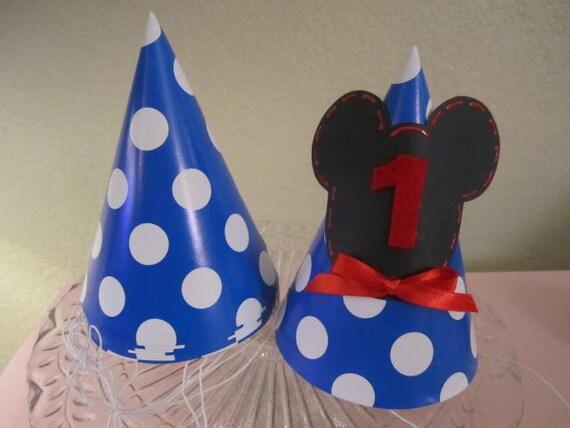 Set de 8 gorros fiesta MICKEY MOUSE decorado en lunares azul y  c3a9fc4fba5