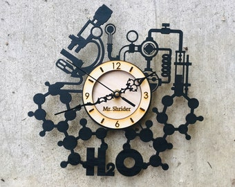 CUSTOM Science Clock-  Engraved Science Gift with name or phrase of your choice - Scientist Gift - Science Teacher Gift- FREE SHIPPING!