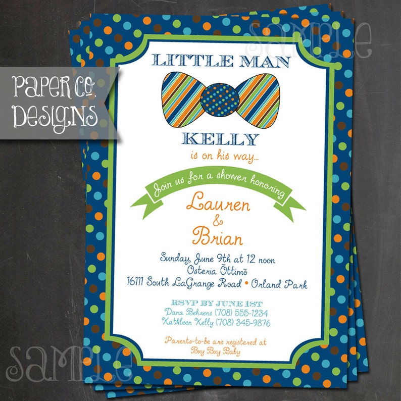 Little Man Bowtie Baby Shower  PRINTABLE or PRINTED image 0