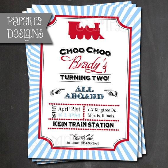 Vintage train birthday invitations printable or printed etsy image 0 filmwisefo