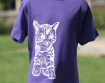 Cat on Purple Toddler T Shirt 2T 3T 4T 5/6T