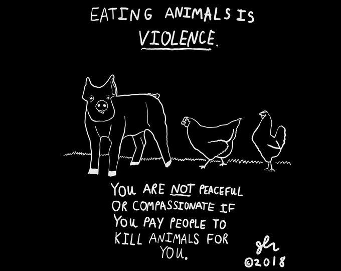 Eating Animals is Violence Shirt Vegan Vegetarian XVX Peace Punk Animal Rights Farm Animals TShirt