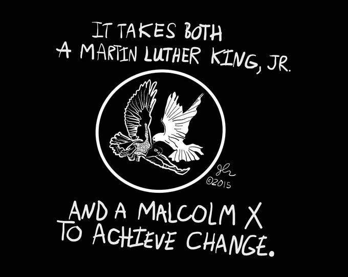 Art Punk Shirts Punk Shirt Print MLK Martin Luther King Jr Malcolm X Dove Hawk Achieve Change DIY Crust Activist Activism Shirt