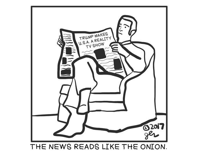 DIY Punk Shirts Crust Punk Shirt The News Reads Like The Onion Political Humor Funny Shirt Trump Makes USA A Reality TV Show Newspaper Shirt