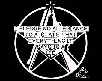 Punk Shirt Punk Shirts DIY Crust Anarchist Anarcho Punk Anarchy Rocker Print Art Original No Allegiance to Lies Political Shirt